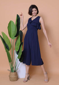 Casual - Ruffle Slv Jumpsuit in Navy