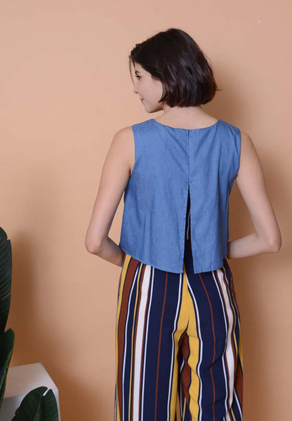 Casual - Denim Layered Jumpsuit in Yellow