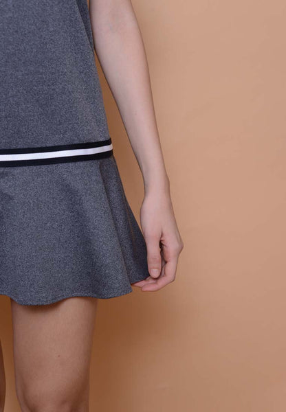 Casual - Fluted Hem Dress in Grey