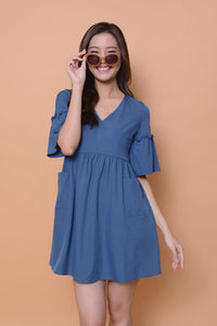 Casual- Flare sleeve Babydoll Dress in Blue