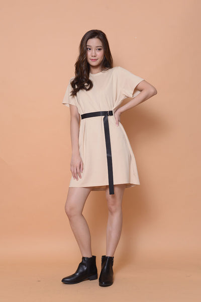 Casual-D-ring dress in beige