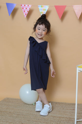 Mini Ruffle Slv Jumpsuit in Navy
