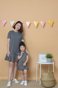 [ Pre-Order ] Casual Fluted Hem Dress in Grey