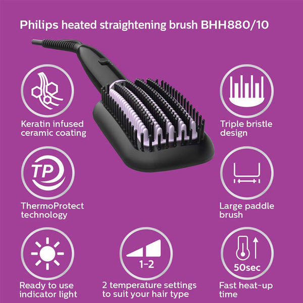 PHILIPS HEATED STRAIGHTENING BRUSH WITH THERMOPROTECT - BHH880