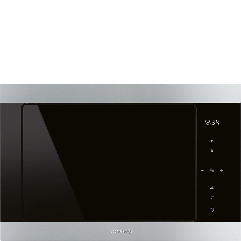 SMEG 60CM CLASSIC S/STEEL BLACK ECLIPSE BUILT IN MICROWAVE - FMI325X