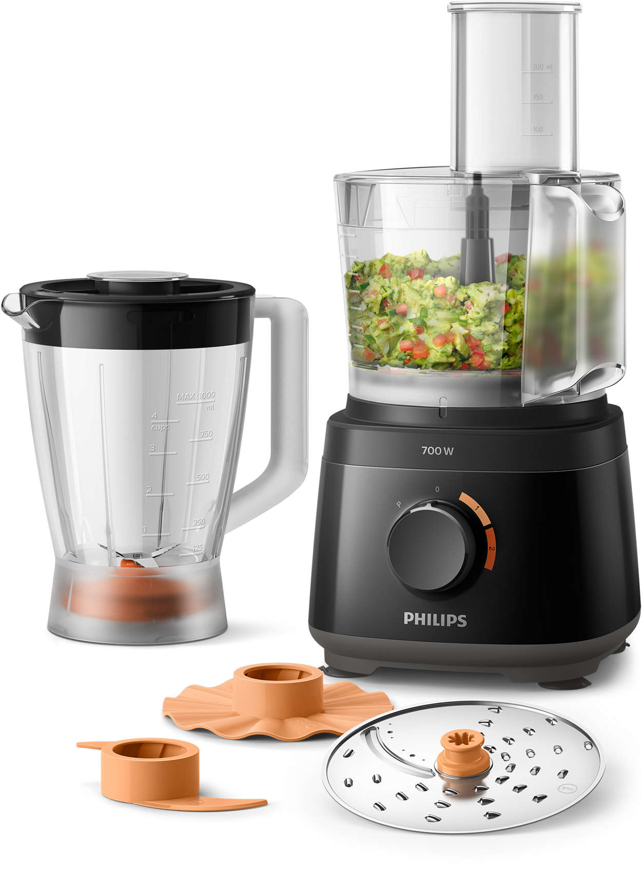PHILIPS DAILY COLLECTION COMPACT FOOD PROCESSOR BLACK 700W - HR7320/00