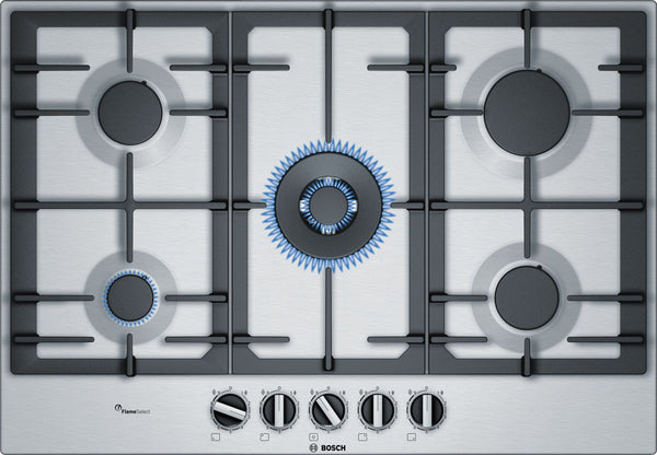 BOSCH 75CM 5 PLATE STAINLESS STEEL GAS HOB SERIES 6 - PCQ7A5B90Z