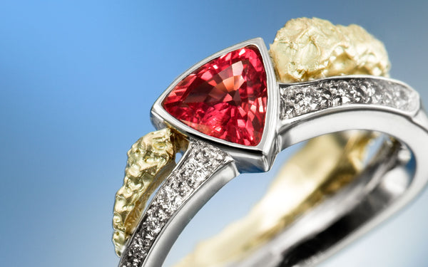 Personalized, custom made trillion cut ruby ring with diamonds