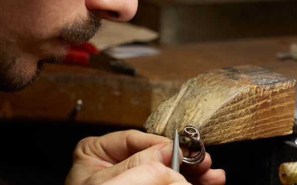 White gold ring creation by hand in Brilldor workshop