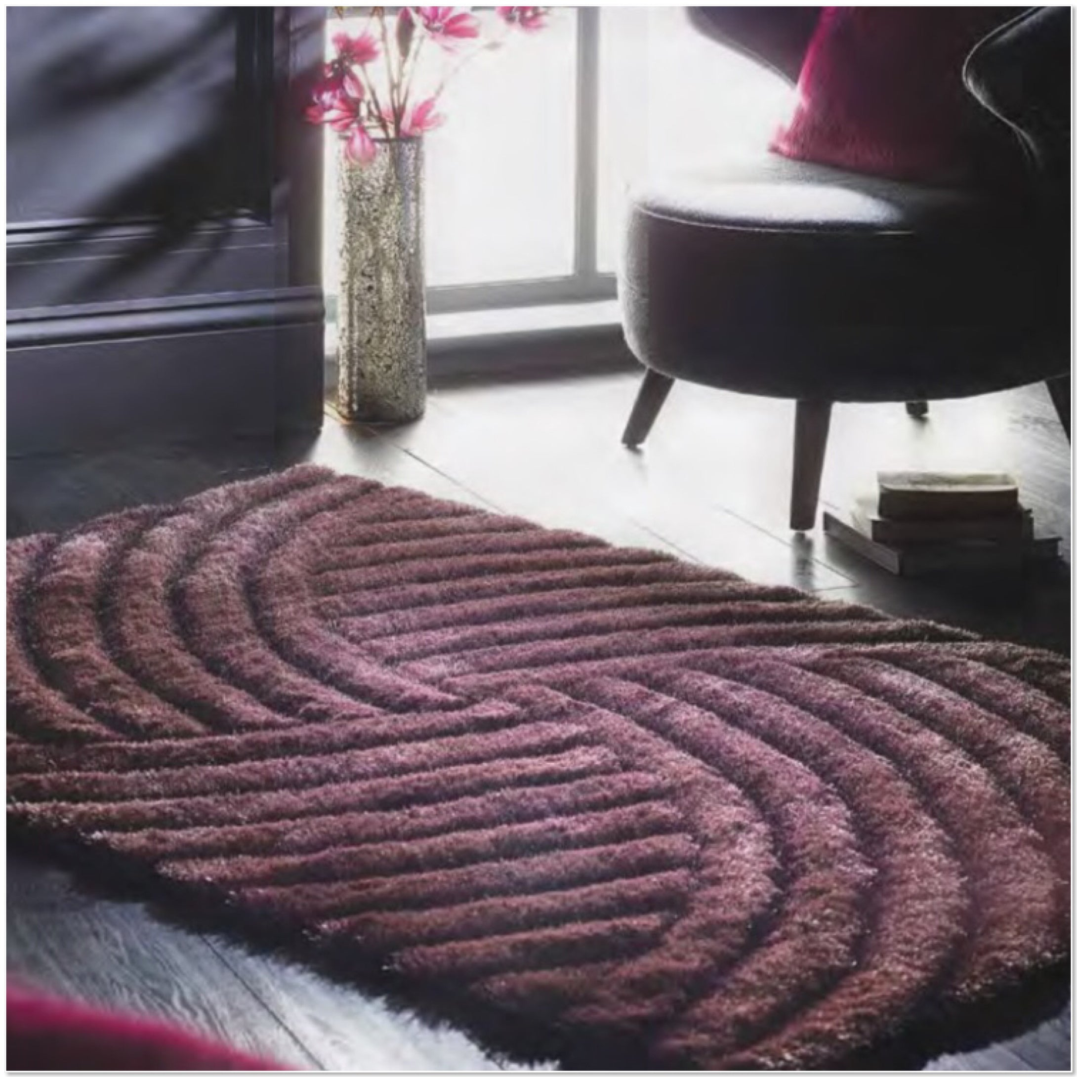 Dallas Luxury Glamour Shine Shaggy Rug Mauve