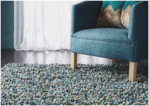 ROCKS SHAGGY JELLYBEAN RUG Hand Tufted Contemporary Wool Rug Blue 4 Sizes