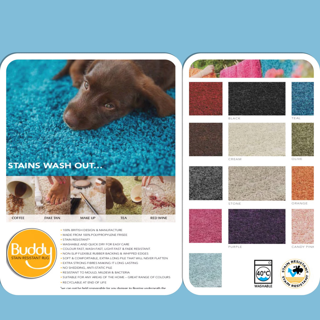 Buddy Rug washable stain resistant hard wearing