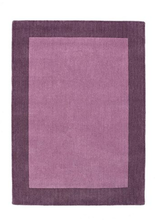 Borders Luxury Pure New Wool Rug Mauve in 3 Colours 3 Sizes
