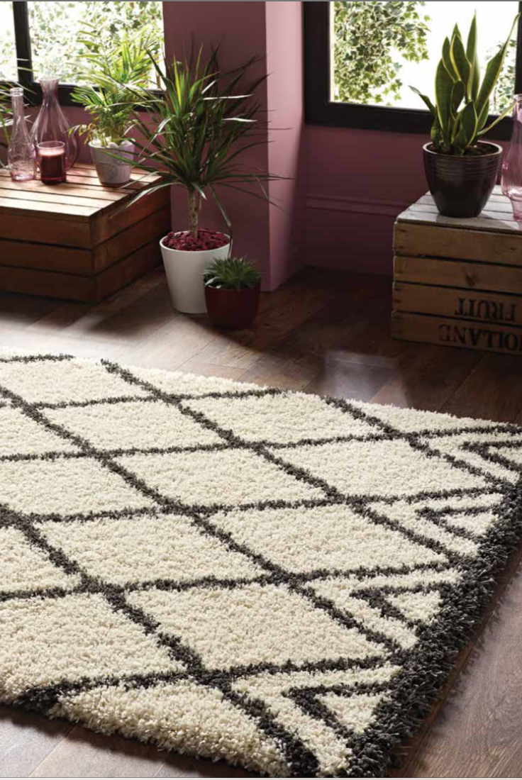 origin lux shaggy diamond modern bohemian style rug tribal design ivory