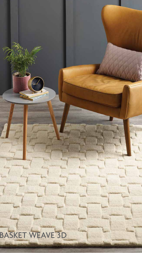 Origin Basket Weave 3D Wool Rug Cream