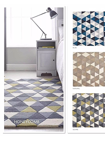 origin wool honeycomb rug yellow, blue, beige