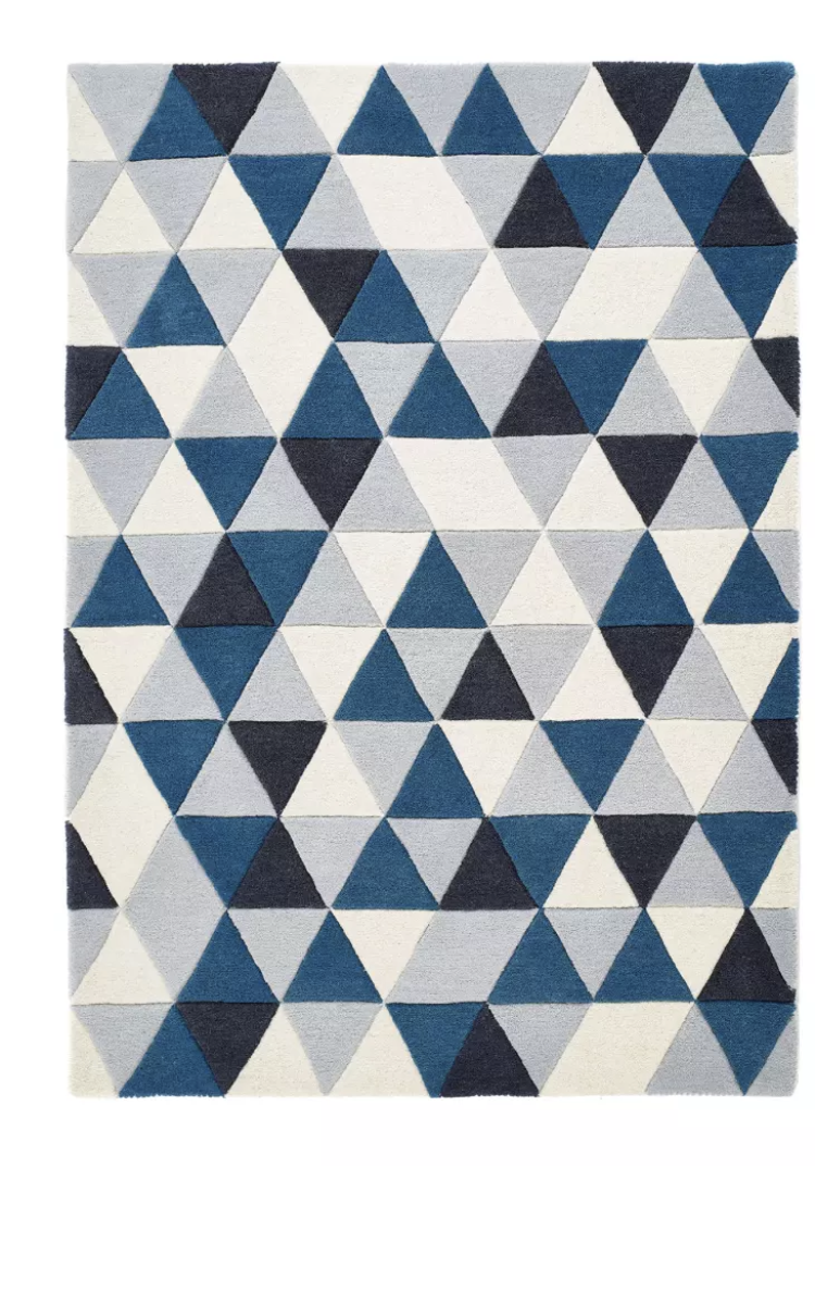 Origin Rug Collection Honeycomb Wool Rug Blue