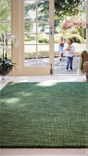 Origin Country Tweed Hand Tufted Pure Wool Grained Rug Green
