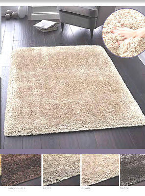 Designer Lux Contemporary Shaggy Glamour Rug in Beige, Pearl, Charcoal & Chocolate