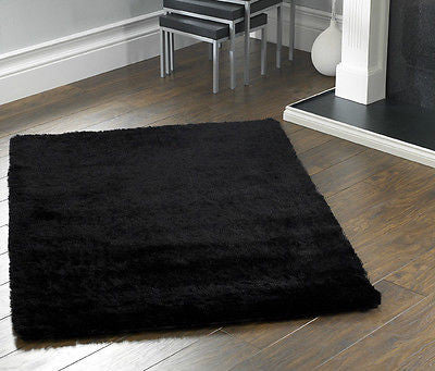 Origin Shimmer Shaggy Rug Black