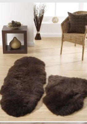 Australian Luxury Sheepskin Rug Chocolate Brown Single 34