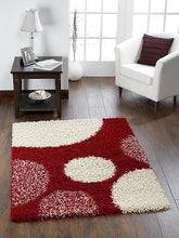 Pluto Shaggy Polyprop Woven  Rug with Spot Design in 3 Colours Brown, Red & Black 4 Sizes