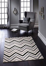 origin cabone wool chevron rug grey and black