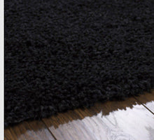 CHICAGO sparkle twist Contemporary Shaggy Plain rug BLACK Various Colours & Sizes