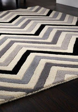 Cabone Luxury Wool Rug In Yellow Zigzag/Chevron