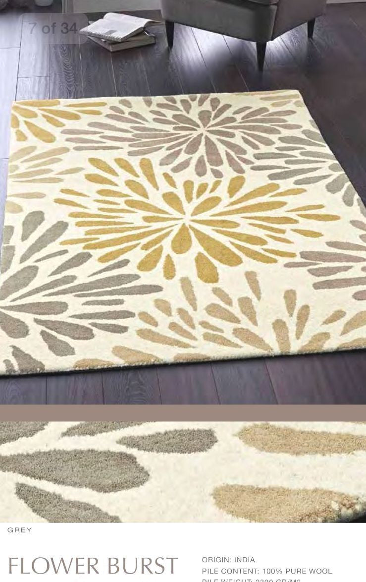 Origin Rug Collection Flower Burst Contemporary Wool Rug in Ivory, Grey, Gold