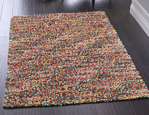 Jellybean felted Wool Rug Multi Candy Colour