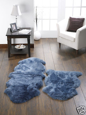 single teal blue luxury sheepskin rug