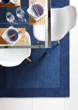 Origin Borders Wool Rug Navy