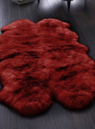 Origin Australian Sheepskin Rug Quad Berry Red