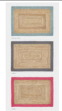 Origin Jute Mat with Border in Pink, Grey or Blue 3 Sizes