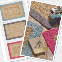Origin Jute Borders Rug 3 Sizes Pink, Grey, Blue