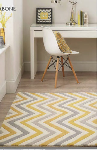 origin cabone yellow chevron rug