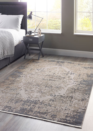 Aura Range Cosimo Distressed Woven Hand Carved Fringed Rug 3 Sizes