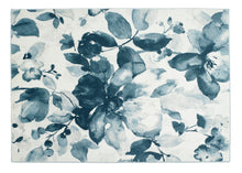 origin watercolour floral rug blue