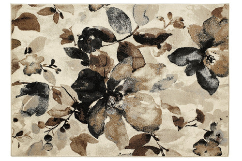 origin rug collection watercolour floral rug beige