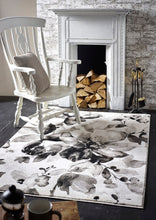 origin watercolour floral rug grey