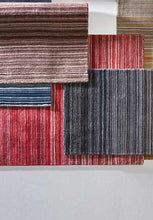 Fine Stripes Contemporary Wool Rug in Red
