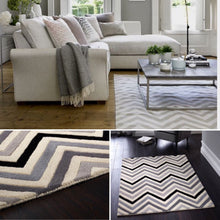 cabone chevron wool rug grey and black