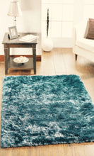 Shimmer Glamour Sparkle Shine Modern Shaggy Rug Teal 4 Sizes Other Colours