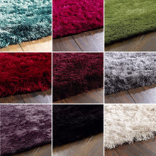 Shimmer Glamorous Silky Shine Shaggy Rug Red More Colours 4 Sizes