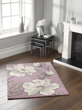 ORIGINS Pure New Woll MAGNOLIAS Floral Rug Lavender Other Colours 2 Sizes