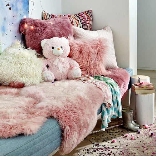 origin double merino woll sheepskin rug pink