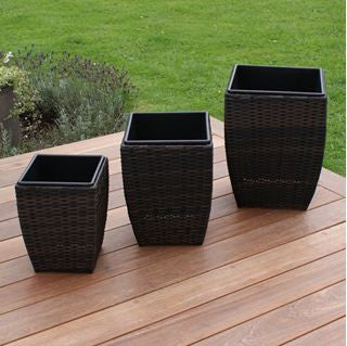 Set of 3 Shaped Rattan Planters
