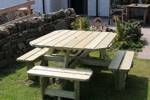 WOODEN SQUARE PICNIC TABLE SITS 8 (CVPT106)