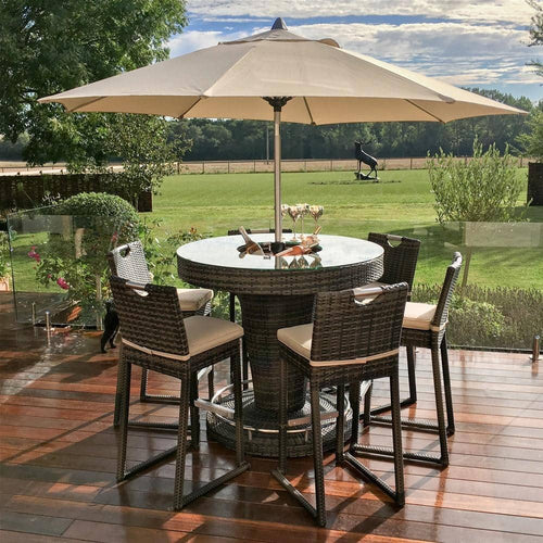 Rattan 6 Seat Bar Set with Ice Bucket Brown Weave